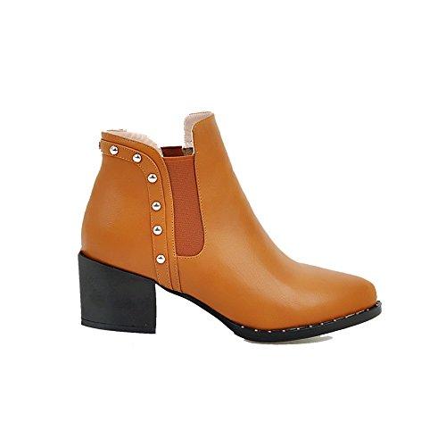 AllhqFashion Damen Knöchel Hohe Eingelegt Ziehen auf Mittler Absatz Stiefel mit Rivet Set, Gelb, 41