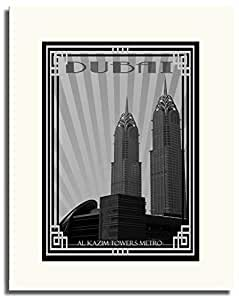 Al Kazim Towers Metro - Black And White With Silver Border F05-m (a4) - Framed