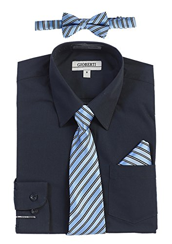 (Gioberti Boy's Long Sleeve Dress Shirt and Stripe Zippered Tie Set, Navy, Size 8 )