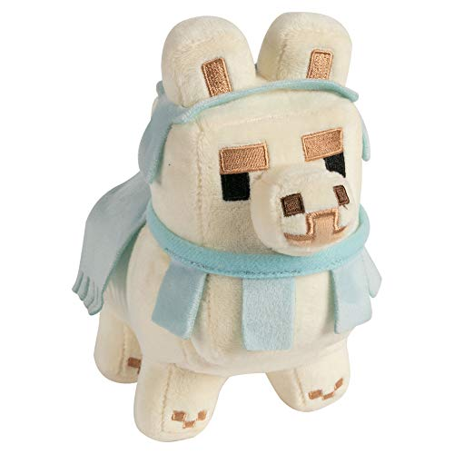 "JINX Minecraft Happy Explorer Baby Llama Plush Stuffed Toy, White/Baby Blue, 6.5"""