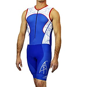 Hillcrusher Mens Red White and Blue Triathlon Singlet Skin Tri Suit