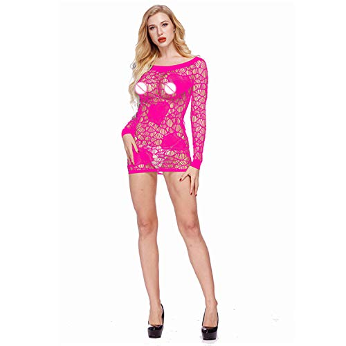 Women's New Sexy Lingerie Lace Hollow Long-Sleeved Dress Openwork Tights Pajamas(Rose red,one ()