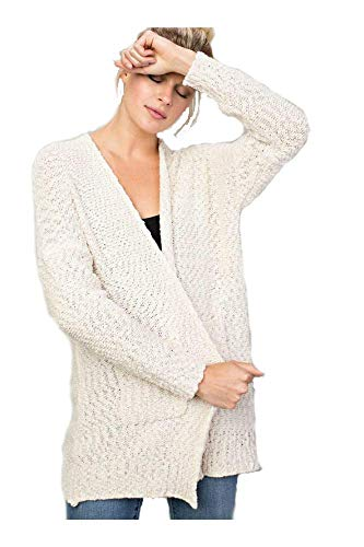 Ladies Popcorn Knit Oversized Cardigan (Multiple Colors) (S/M, Cream) by L Love (Image #1)