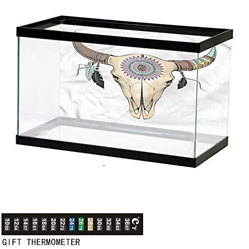 homecoco Fish Tank Backdrop Ethnic,Buffalo Skull Ornamental,Aquarium Background,60