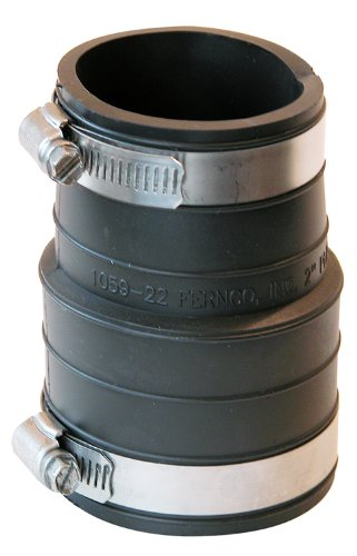 Fernco P1059-22 2-Inch by 2-Inch Rubber Flexible Coupling Repair Fitting Pvc Leak Repair