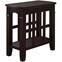 Furniture of America Nisee Open Magazine Rack Side Table, Espresso