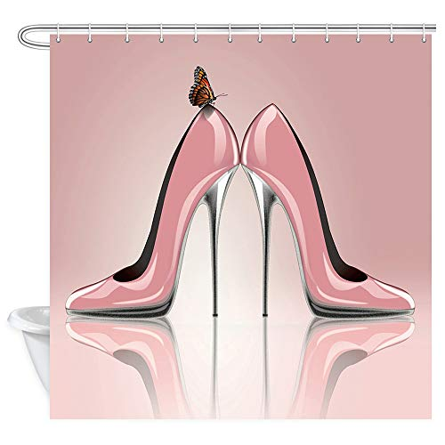 NYMB Fashion Lady Shower Curtain, Pink High Heeled Shoes and Butterfly Shower Curtain, Waterproof Fabric Girl Bathroom Decorations, Bath Curtains 12PCS Hooks Included, 69X70 - Shoe Lady Fancy