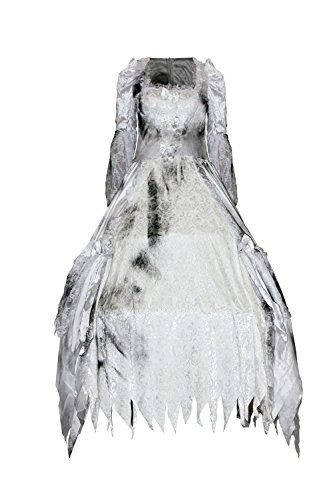 Sexy4Lady Women's Deluxe White Queen Costume Alice in Wonderland Cosplay Halloween Party Dress Outfit White Medium