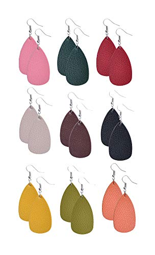 9 Pairs Comfortable Women Girly Leather Earrings Teardrop for Ladies Teens PREMIUM Wholesale Jewelry with Rich Colours (Pack of 9 Leather Earrings) ()