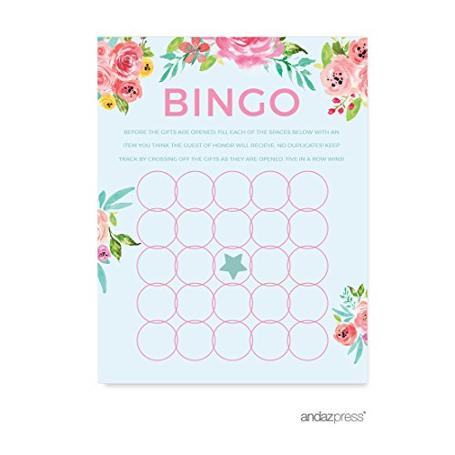 Andaz Press Pink Roses English Tea Party Tea Party Wedding Collection, Bridal Shower Bingo Game Cards, (Tea Party Games)