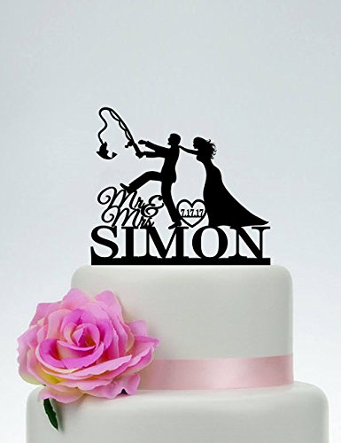 Fishing Funny Custom Mr And Mrs Fishing Themed Wedding Outdoor Wedding Cake Topper For Wedding Anniversary Gifts Wedding Party Favors Cake -