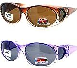 2 Womens Rhinestone Polarized Fit Over Ombre Sunglasses (Purple, Brown)