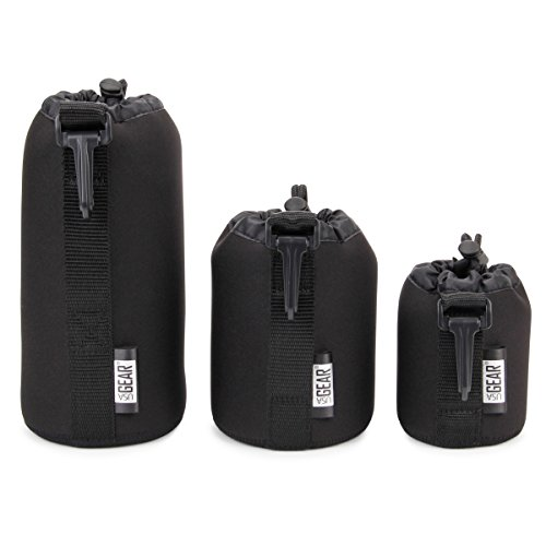 USA Gear FlexARMOR Protective Neoprene Lens Case Pouch Set 3-Pack (Black) Small, Medium Large Cases Hold Lenses up to 70-300mm Drawstring Opening, Attached Clip, Reinforced Belt Loop