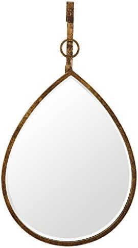 Amazon Brand Rivet Rain Drop Oval Hanging Wall Mirror, 24 Inch Height, Weathered Finish