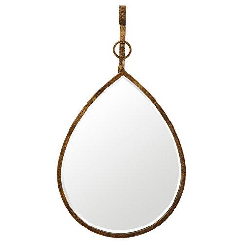 Rain Wall Hanging - Rivet Rain Drop Oval Hanging Wall Mirror, 24 Inch Height, Weathered Finish