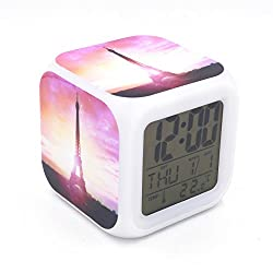 BoFy Led Alarm Clock Romantic Eiffel Tower Pattern Pink Personality Creative Noiseless Multi-functional Electronic Desk Table Digital Alarm Clock for Unisex Adults Kids Toy Gift