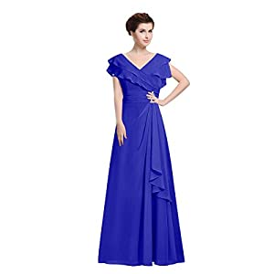 92ad2df952a1d Women s Double V-Neck Ruffles Floor Length Chiffon Mother of The Bride  Dresses Party Dresses (14