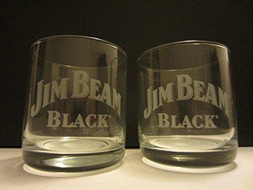 Jim Beam Black Label (Set of 2 Jim Beam Black Label Bourbon Whiskey Logo Round Lowball Rocks Glasses)