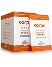 Carpe On-the-Go Antiperspirant Underarm Wipes for Sweat Blocking, Deodorizing, and Cleansing When You're On the Move - 15 Residue Free, Individually Wrapped Wipes - Clean and Refreshing Scent