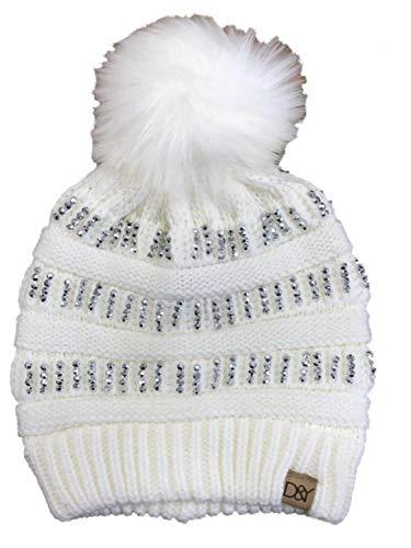 David & Young Womens Ivory & Silver Rhinestone Pom Beanie Hat Knit Stocking Cap