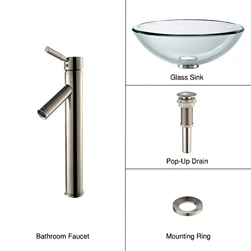 - Clear 19mm thick Glass Vessel Sink and Sheven Faucet Satin Nickel