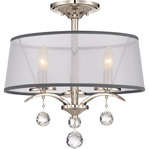Quoizel WHI1716IS Whitney White Organza Semi Flush Mount Ceiling Lighting, 3-Light, 180 Watts, Imperial Silver (17