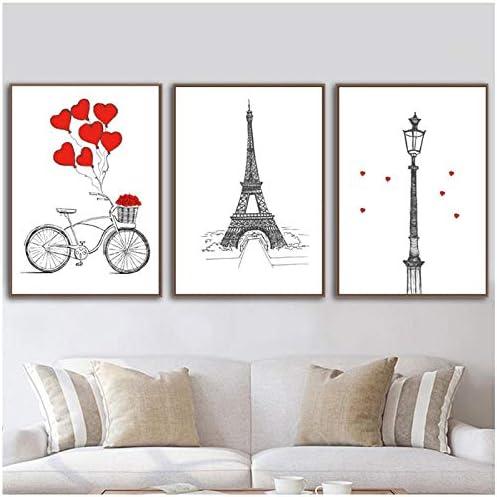 キャンバスHDプリントモダンノルディックバイクパリタワーバルーン写真壁アート絵画家の装飾モジュラーポスター用リビングルーム-40