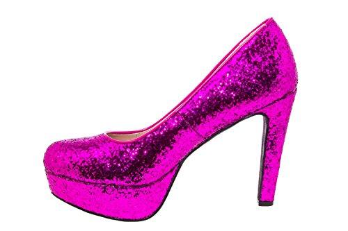 Andres Machado AM5051.Escarpins Soft et Plateforme.Pour Femmes.Petites Pointures 32/35.Grandes Pointures 42/45 glitterfucsia