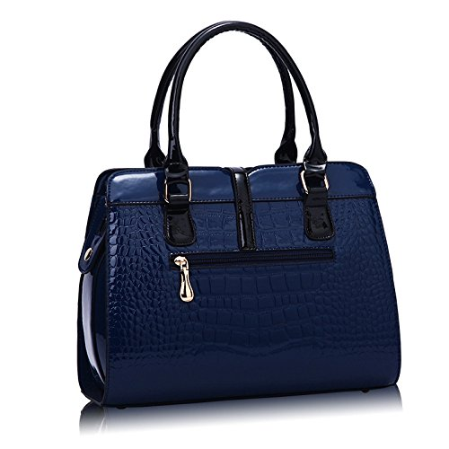 Casual Patent Leather Fashion Handbags Female Women's Bag Messenger Darkblue Bag nHvRPq
