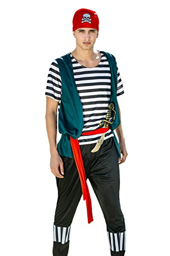 Adult Men Ruthless Pirate Halloween Costume Seven Seas Rogue Dress Up & Role Play (Medium/Large, black, white, red, (Mens Halloween Costumes Ideas)