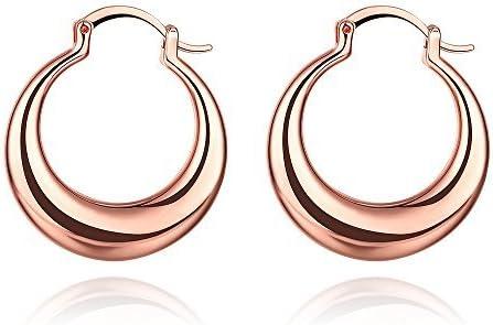 30mm Minimalist Teardrop Rose Gold Small Hoop Earrings For Women Girls Ladies Hoops Glossy Round Circle Huggie Hypoallergenic Nice Gift