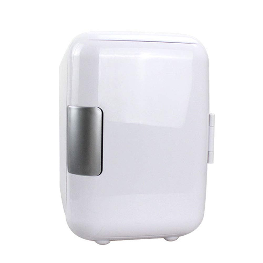 HM&DX Portable Mini Fridge Freezer Cooler Warmer 6 Cans Quiet Mini Refrigerator Compact Energy Star Car Dorm Room Office-White 4L