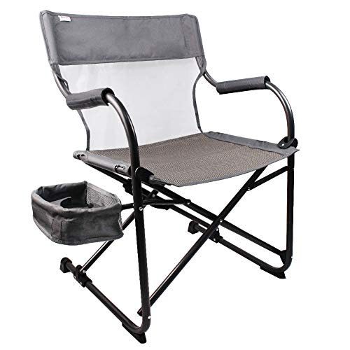 Zenree Heavy Duty Camping Folding Director s Chair Outdoor, Portable New Age Outdoor Sports Chairs, Traveling Hiking Leisure Seat with Breathable Mesh Wide Seat Big Side Basket