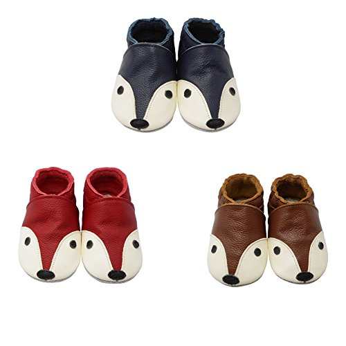 YIHAKIDS Soft Sole Baby Shoes Infant Toddler Leather Moccasins Cute Fox Slippers (4-4.5 US/0-6 MO./4.7in, Red) - Image 2