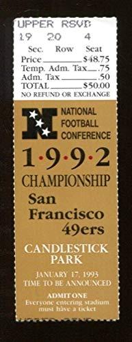 1992 NFC Championship Ticket Cowboys v 49ers 1/17 Candlestick Park 46542