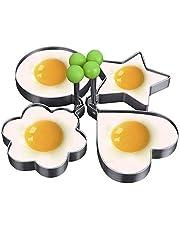حلقات بيض، 4 قطع، مجموعة قوالب فطائر مصنوعة من الستانلس ستيل، قوالب دائرية للطبخ، مثالية لطبخ البيض، قالب صنع البيض، اصنع شطائر وفطائر مثالية للافطار، يجب استخدام مقلاة مسطحة مع هذا المنتج