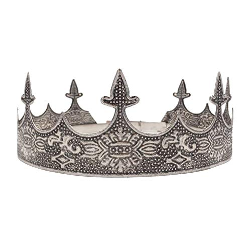 SNOWH Antique Silver Full King Crown, Men's Tiaras and Crowns Birthday Crown Decorations, Prom Party Hats Costume Hair ()