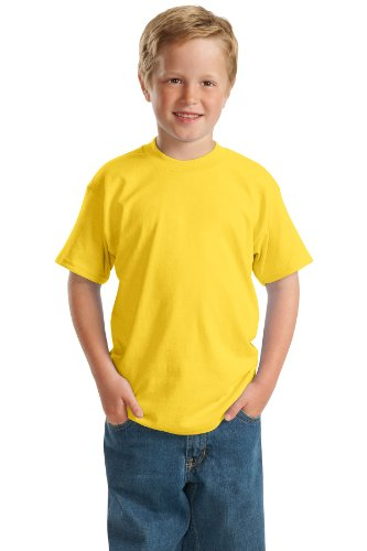 - Hanes 5.2 oz Youth COMFORTSOFT HEAVYWEIGHT 50/50 T-Shirt, L-Yellow