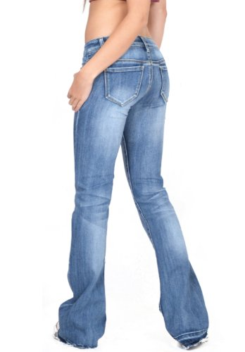 Cindy.H Women&39s Faded Flared Hipster Bootcut Stretch Jeans with