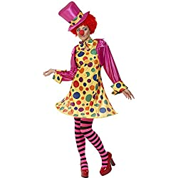 Smiffys Women's Clown Lady Costume, Hooped Dress, Shirt, Bow Tie, Stripy Tights and Hat, Funny Side, Serious Fun, Size 10-12, 32882