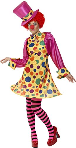 Clown Halloween Costume Uk (Smiffy's Women's Clown Lady Costume, Hooped Dress, Shirt, Bow Tie, Stripy Tights and Hat, Funny Side, Serious Fun, Size 6-8, 32882)