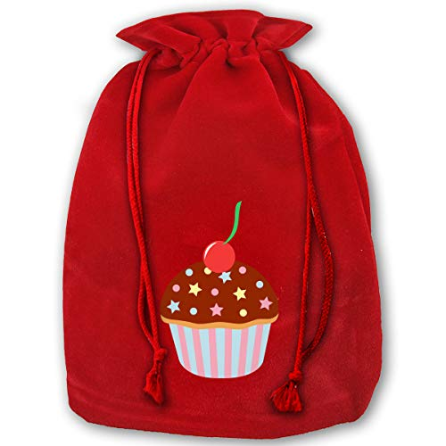 Christmas Decorations Santa Sack Personalized for Kids Velvet Bag - Cupcake Chocolate Sprinkles Cherry