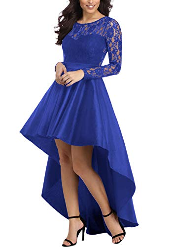 Women Evening Dresses Long Sleeve Lace Bodice Formal Hi-Low Prom Party Dress Blue XL Bodice Sheer Prom Dress