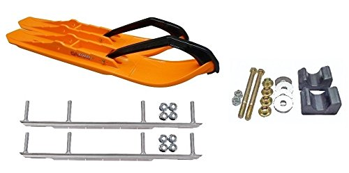 C&A Pro Orange XCS Snowmobile Skis w/ 9'' Shaper Bars Complete Kit Arctic Cat 2009 and Previous by Powersports Bundle