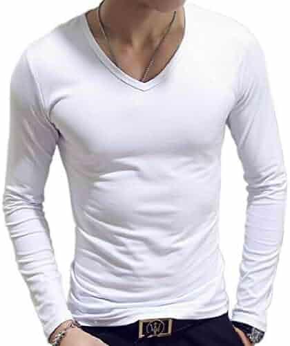 c2e01d07e UUYUK Men Solid Crew Neck Plus Size Long Sleeve Slim Fit Tee T-Shirts