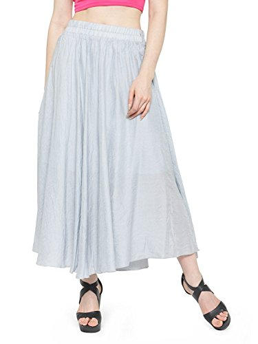 Indian Handicrfats Export Women's Bohemian Style Elastic Waist Band Cotton Linen Long Maxi Skirt Dress