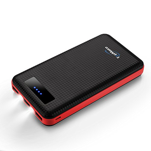 TopMate 20000mah Huge Capacity Power Bank, Three Output Ports(Two 2.1A One 1A), Dual LED Lights, Ninety Percent Conversion, Carbon Fiber Look