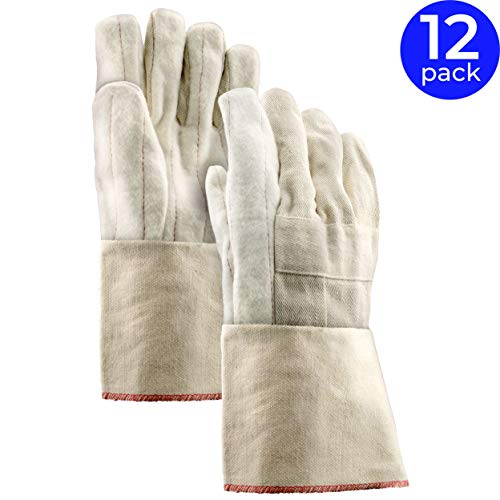 Stauffer 24 oz. Cotton Hot Mill Gloves | Natural Color, Cut and Sewn, Gauntlet Cuff, 12.5
