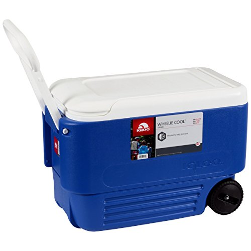 Ice - Cooler 38 Quart Rolling Ice Chest With Wheels. This Ice Box Is The Best Way To Keep Food, Beer & Drinks Cool For Outdoor Party, Camping, Travel, Picnic, Fishing, Bbq, Beach, Sports & Pool. by Ice - Cooler