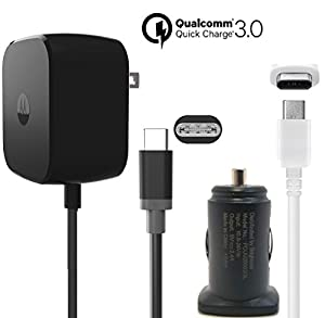 Motorola TurboPower 30W Fast TYPE C Charger W/Key 2.4Amp Universal Car Adapter W/ TYPE C USB for Moto Z/Z2/Force/X4 Pixel/2/XL/C/Note8/S8/S9/+/G6 (Certified Refurbished) Kit